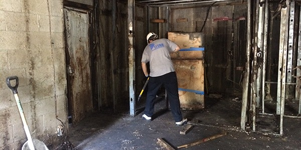 Fire restoration specialist working on residential property Florida